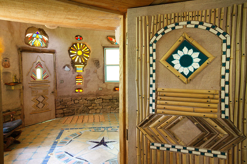 Cob Castle bamboo and tile door